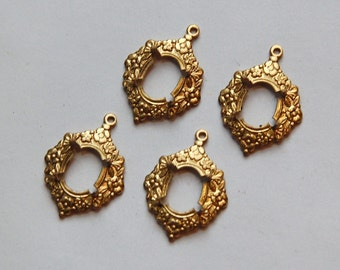 Floral Brass Stamping Prong Setting Charms Pendants 10mm x 8mm (4) stn020