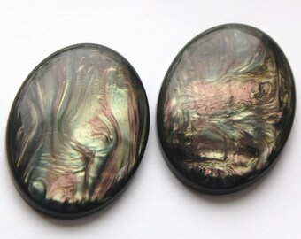 Swirled Olive Green and Purple Gray Cabochons 40mm x 30mm cab635