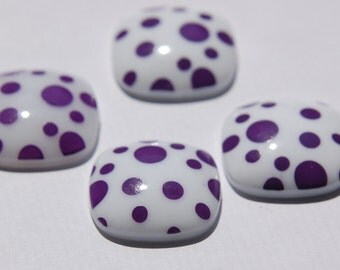 Vintage Purple and White Polka Dot Square Domed Cabochons cab404E