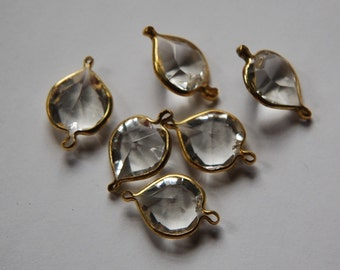 Brass Channel Set Faceted Clear Heart Acrylic Charms2 Loop chr166C