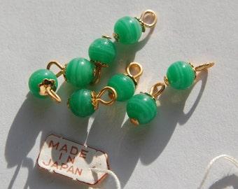 Vintage Jade Green Glass Bead Drops with 6mm Bead Cap Loop drp026