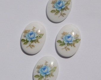 Vintage Blue Rose Oval Glass Cabochons Japan 18mm x 13mm cab424A