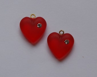 Vintage Matte Red Heart Charm with Rhinestone chr104E