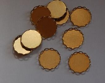 Raw Brass Lace Edge Fillgree Setting 15mm Round (8) stn001B