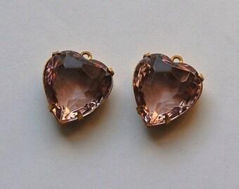 Light Amethyst Glass Heart Pendants in 1 Loop Brass Setting 15mm hrt001K