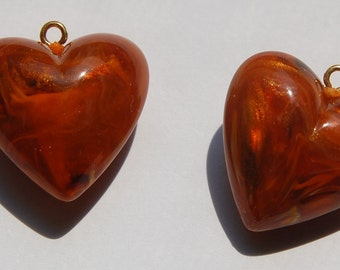 Vintage Amber Swirled Puffy Heart Charms Japan chr095