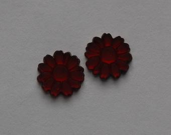 Vintage Matte Red Glass Flower cabochon 10mm (2) cab661A
