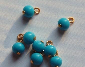 Vintage Turquoise Blue Glass Drops Bead Cap Loop drp022