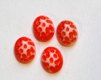 Vintage Orange and White Glass Textured Cabochons 10x8mm cab729C