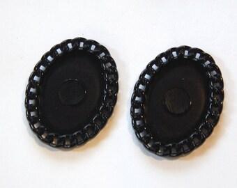 Vintage Black Plastic Oval Settings Chain Link Border 25x18mm stp006B
