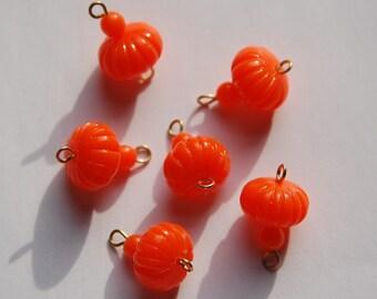 Vintage Orange Melon Bead Drops Connectors Japan bds022