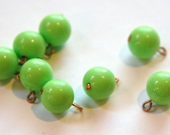 Vintage Bright Green Acrylic Bead  Drops Charms Loop drp034A