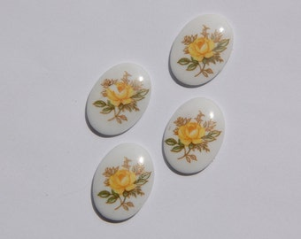 Vintage Yellow Rose Oval Glass Cabochons Japan 18mm x 13mm cab424B
