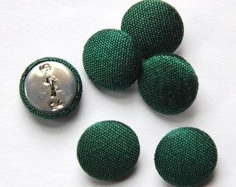 Vintage Hunter Green Silk Buttons 15mm btn002I