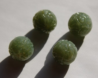 Vintage Acrylic Etched Jade Green Beads 18mm bds816