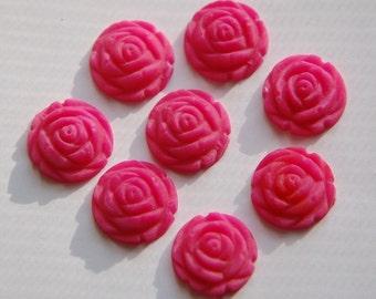 Vintage Style Matte Pink Rosebud Flower Cabochons 15mm cab464F