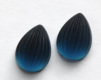 Matte Blue Ribbed Melon Glass Pear Cabochons 18mm x 13mm cab450E