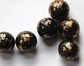 Vintage Metallic Black and Gold Splatter Beads 14mm Germany bds256A