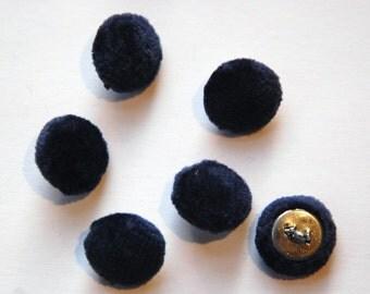 Vintage Dark Blue Soft Velour Fabric Buttons 13mm Metal Shank btn004C