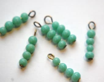 Vintage Turquoise Glass Beaded Drops Japan drp047A