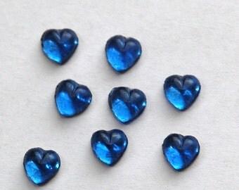 Vintage Little Sapphire Blue Foiled Glass Hearts cab701D