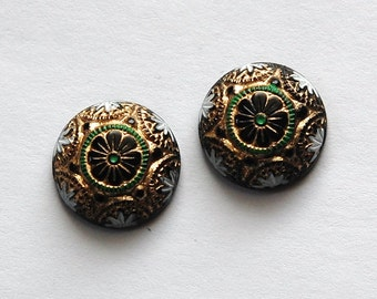Vintage Black Mosaic Glass Cabochons with Gold White Green 14mm cab757F