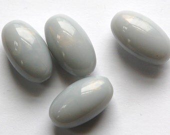 Vintage Gray Blue Opal Oval Lucite Beads bds817E