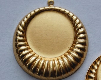 Raw Brass Hoop Pendant with 22mm Setting pnd101A