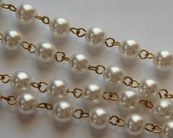Vintage White 8mm Pearl Beaded Chain 3 Feet chn041