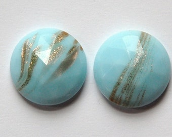 Vintage Light Blue Faceted Glass with Goldstone 18mm cab780F