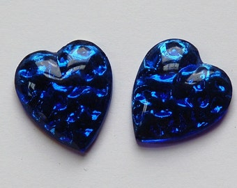 Vintage Vibrant Sapphire Blue Glass Heart Cabochons (2) cab075