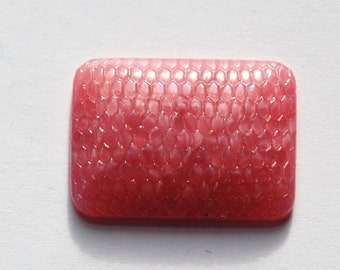 Vintage Textured Pink Glass Rectangle 25x18mm Cabochon cab283A