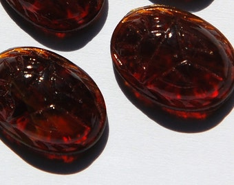 Vintage Dark Brown Scarab Glass Cabochons 18x13mm cab319S