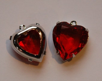 1 Loop Ruby Red Glass Heart Charms Silver Setting hrt002A