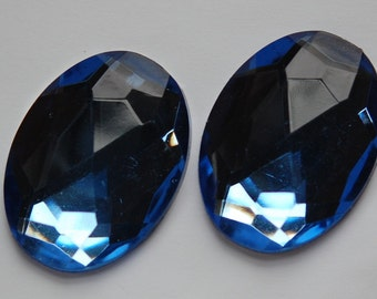 Faceted Lt Blue Acrylic Flat Back Cabochons 40x30mm cab787G