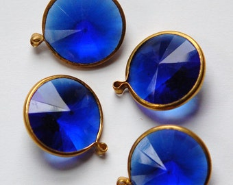 Vintage Sapphire Blue Acrylic Rivoli Channel Set 18mm 1 Loop Drops chr156L
