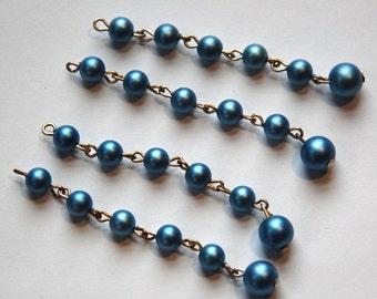Vintage Metallic Blue Pearl Acrylic Beaded Drops drp054