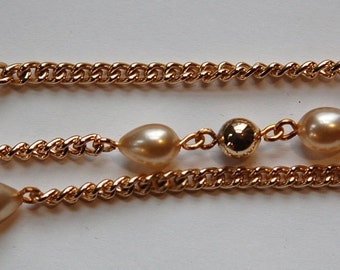 Vintage Gold Plated Beads and Glass Teardrop Pearl Beaded Chain chn057