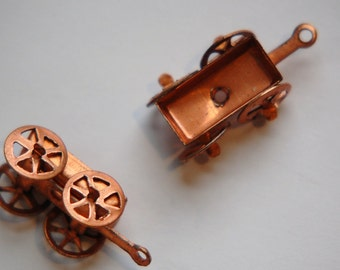 Vintage Toy Wagon Moving Wheels Copper Charms (4) chr103L