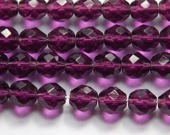Vintage Amethyst Purple Faceted Glass Beads 8mm (20) bds628