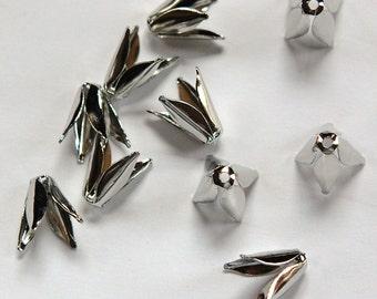 Silver Plated Long 4 Petal Bead Caps (10) mtl303A