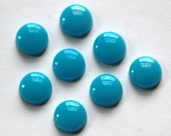 Vintage Turquoise Blue Glass Cabochons 7mm cab701H