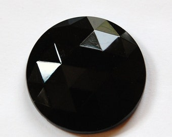 Vintage Black Faceted Glass Cabochon Germany tri cab723B