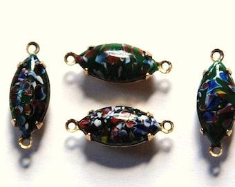 Vintage Green Millefiori Glass Navettes in 2 Loop Brass Connector Setting nav001N2