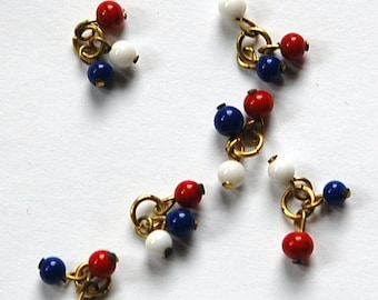 Vintage Red White and Blue Glass Triple Drops Japan drp077