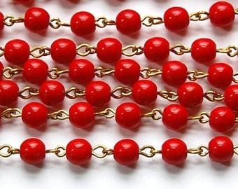 Red Czech Glass Bead Chain Raw Brass Links 6mm chn117