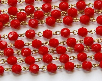 Red Faceted Czech Glass 6mm Bead Chain Raw Brass Links chn123