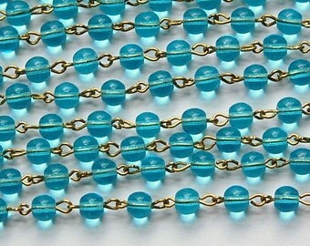 Aqua Czech Glass Bead Chain Raw Brass Links chn131