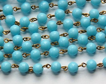 Light Blue Czech Glass 6mm Bead Chain Raw Brass Links chn130
