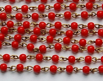 Smooth Red Czech Glass 4mm Bead Chain Raw Brass Links chn116